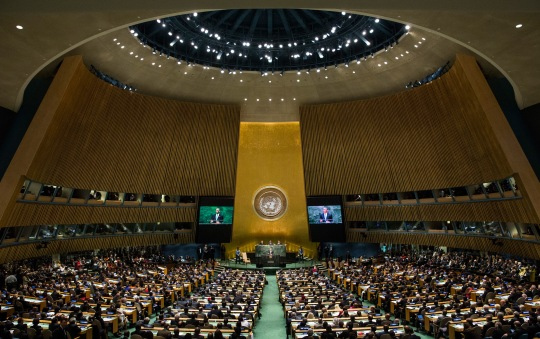 NEW YORK, NY - SEPTEMBER 24: U.S. President Barack Obama speaks at the 69th United Nations General Assembly at United Nations Headquarters on September 24, 2014 in New York City. The annual event brings political leaders from around the globe together to report on issues meet and look for solutions. This year's General Assembly has highlighted the problem of global warming and how countries need to strive to reduce greenhouse gas emissions. (Photo by Andrew Burton/Getty Images)